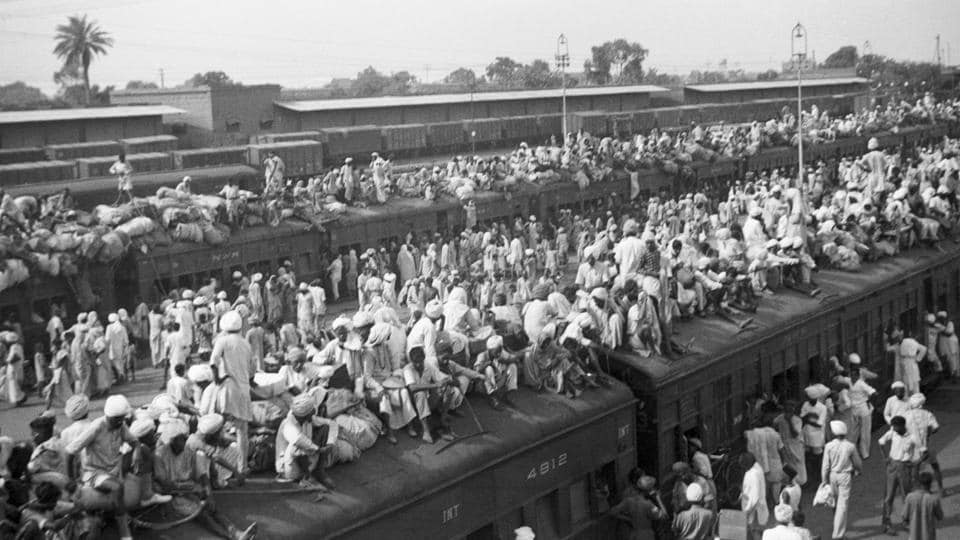 Indian refugees crowd onto to trains as a result of the creation of two independent states, India and Pakistan. Muslims flee to Pakistan and Hindus flee to India in one of the largest transfers of population in history.