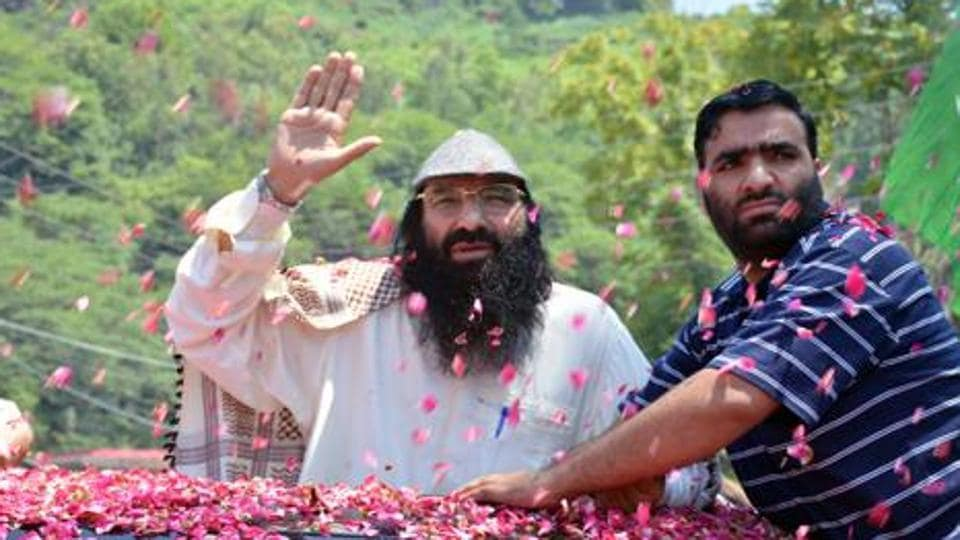 Syed Salahuddin (left), supreme commander of Hizbul Mujahideen, in Pakistan on July 1, 2017.