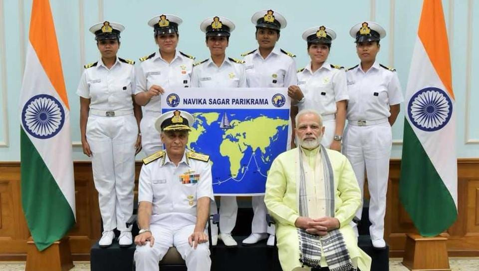 Prime Minister Narendra Modi with the crew in New Delhi on Wednesday. This is the first-ever Indian circumnavigation of the globe by an all-women crew.