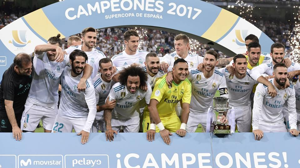 Real Madrid won the Spanish Super Cup on Wednesday after a 5-1 aggregate win over bitter rivals FC Barcelona over two legs. (AFP)