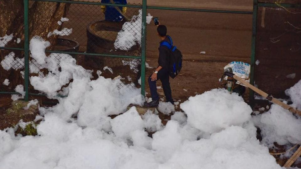 Karnataka will take one or two years to eliminate plumes of toxic foam spewing out of Bengaluru's lakes, chief minister Siddaramaiah said on Thursday. (Arijit Sen/HT Photo)