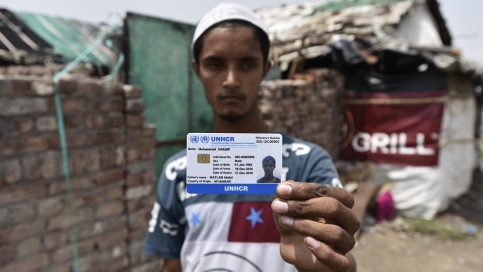 The United Nations High Commissioner for Refugees (UNHCR) has issued identity cards to about 16,500 Rohingya in India to help them prevent harassment, arbitrary arrests, detention and deportation.  (Burhaan Kinu/HT PHOTO)