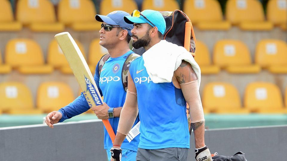 Virat Kohli and MSDhoni practice intensely as India gear up for the ODI series against Sri Lanka, starting on Sunday in Dambulla. (AFP)
