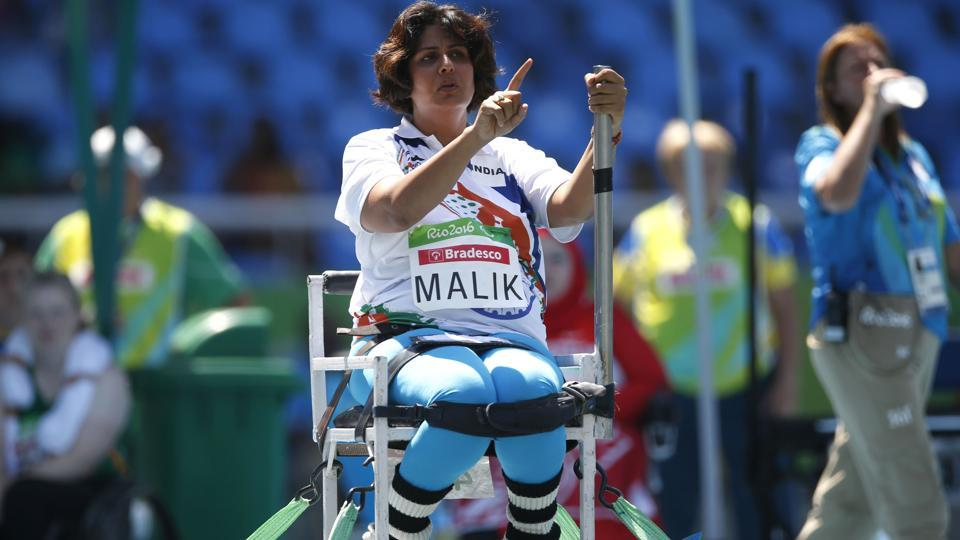 India's Deepa Malik gestures as she competes in the women's final shot-put F53 athletics event during the Paralympic Games at the Olympic Stadium in Rio de Janeiro, Sept. 12, 2016. Malik won the silver.