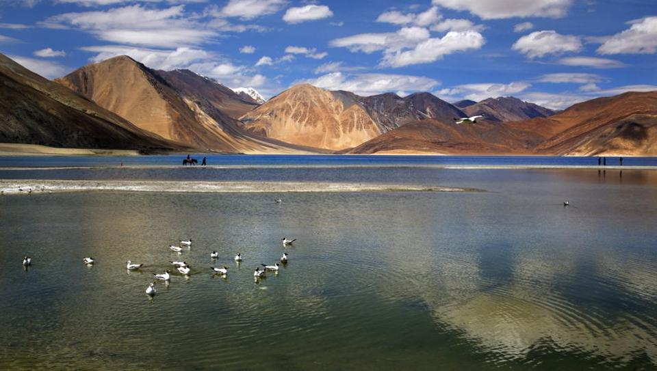 File photo of the Pangong lake in Ladakh, where a skirmish broke out between Indian and Chinese troops on August 15.