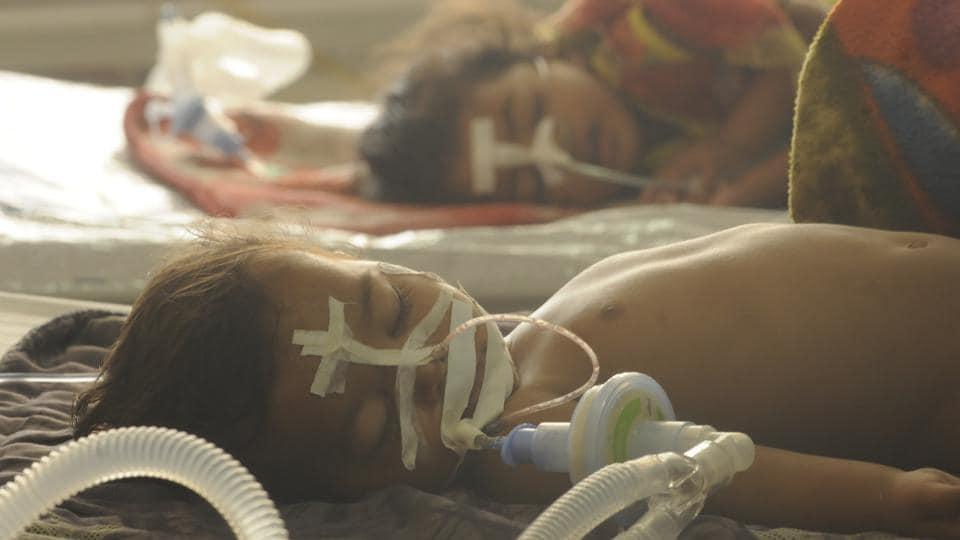 Children hospitalised in the encephalitis ward at the Baba Raghav Das Medical College in Gorakhpur on August 15, 2017.