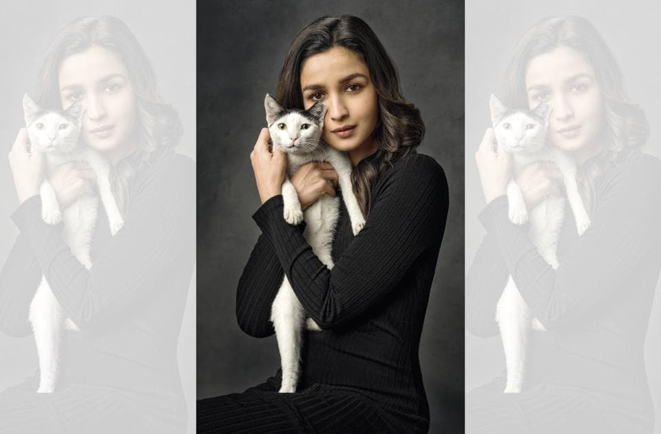 Alia Bhatt has made some of her favourite childhood memories with cats (Alia wears a dress by Zara)