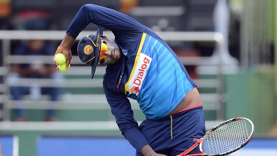 Angelo Mathews had a god with the tennis racquet during the session. (AFP)