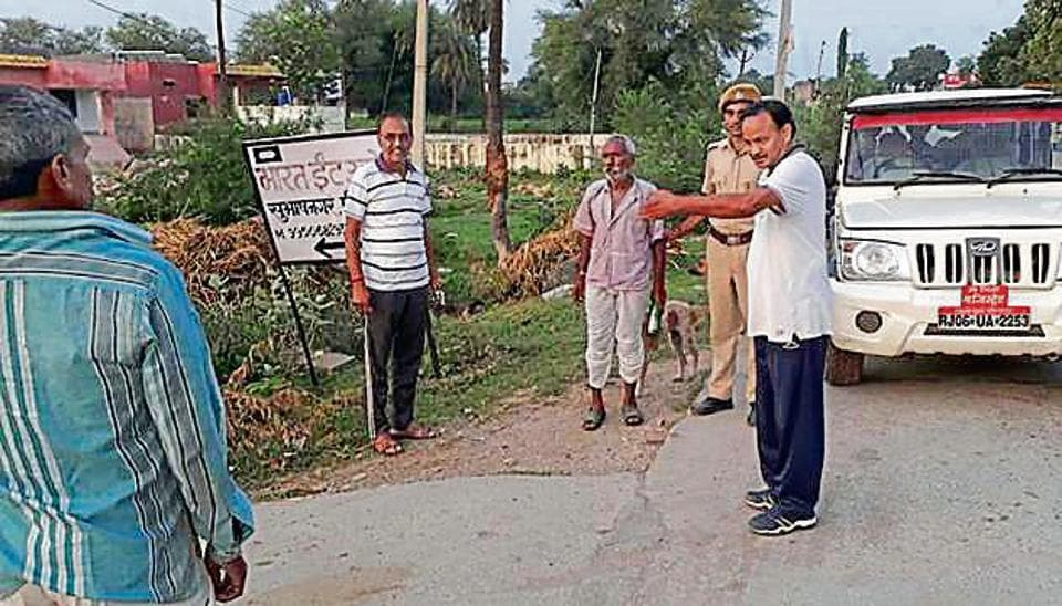 Jahazpur sub-divisional magistrate Kartar SIngh (in white T-shirt) during a morning follow-up of Swachh Bharat Mission.