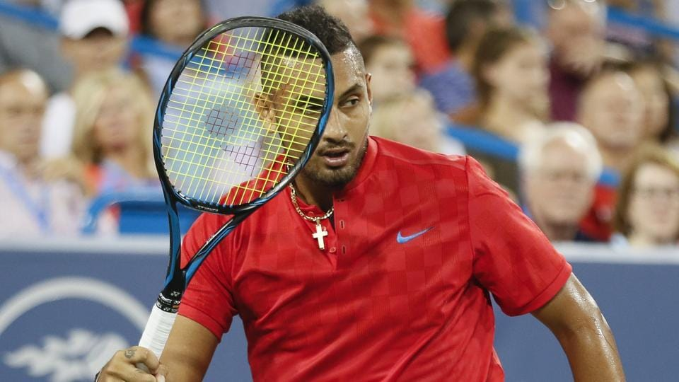 Nick Kyrgios acknowledges the crowd after winning a point against Rafael Nadal during their quarterfinal match at the Cincinnati Open on Friday.