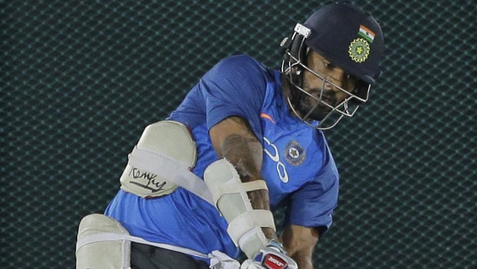 Shikhar Dhawan bats during the practice session ahead of their first ODI. (AP)