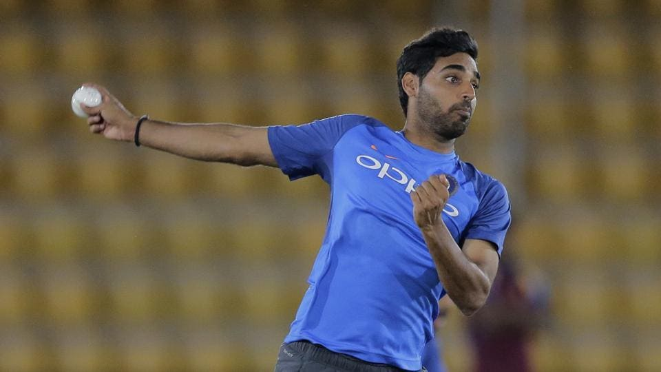 Medium pacer Bhuvneshwar Kumar delivers a ball on Saturday. He will be eager to perform in the ODI series. (AP)