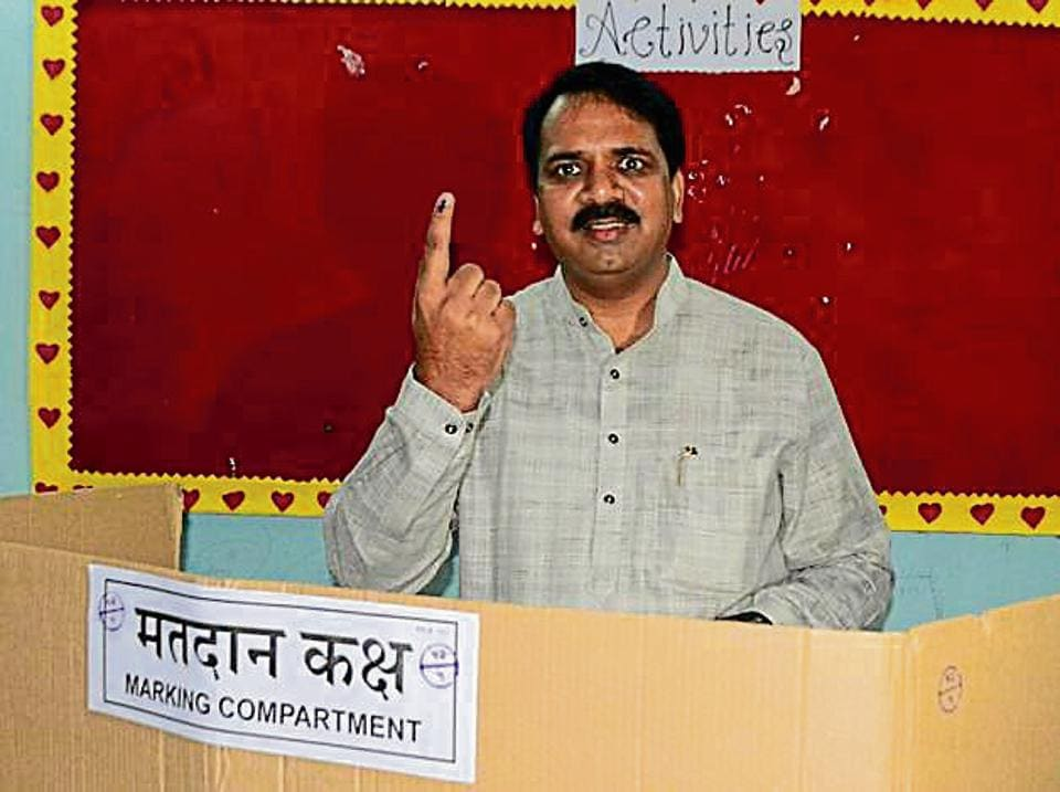 BJP MLA Narendra Mehta after casting vote for the MBMC polls on Sunday.