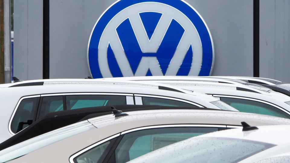 A logo of German car maker Volkswagen at a dealership in California.