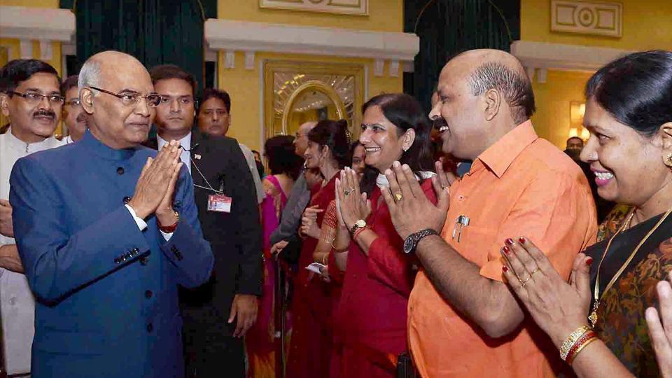 President Ram Nath Kovind greets invitees at the home reception function at Rashtrapati Bhavan on the occasion of 71st Independence Day in New Delhi on August 15, 2017.