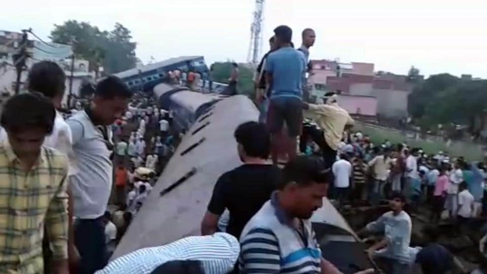 Passengers on the roof of a train after part of it derailed in Khatauli, Muzaffarnagar on August 19, 2017.