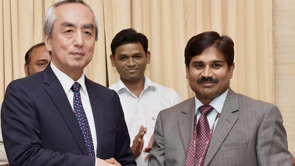 Kenji Hiramatsu, Japanese ambassador to India signing an MoU with joint secretary, department of economic affairs, S Selvakumar,  in New Delhi in March 2017.