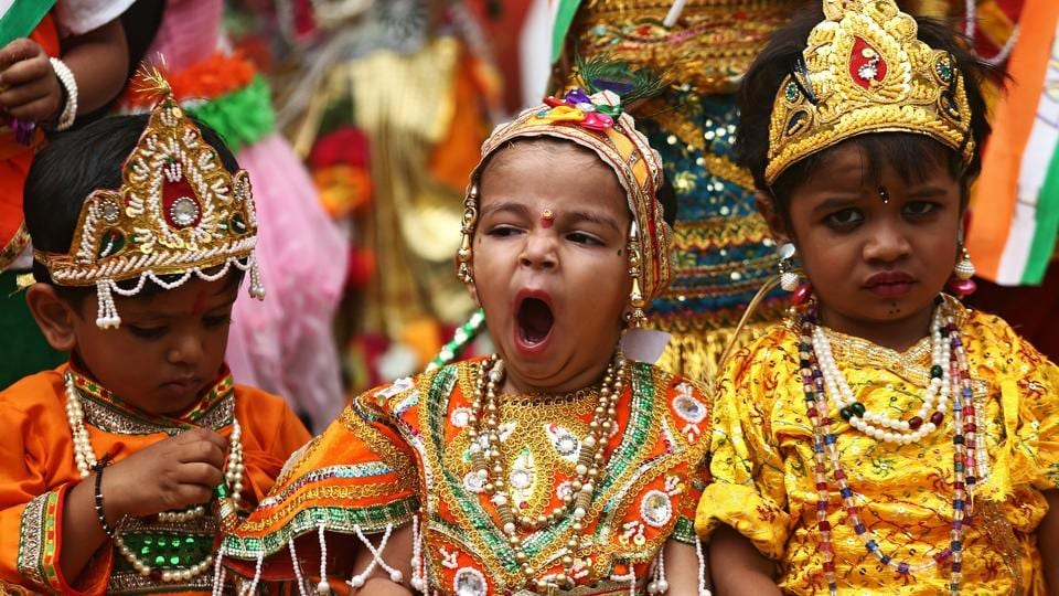 School children dressed as Hindu Lord Krishna, wait to perform during the celebrations ahead of the Janmashtami festival, which marks the birth anniversary of Lord Krishna in Ajmer. (Himanshu Sharma/REUTERS)