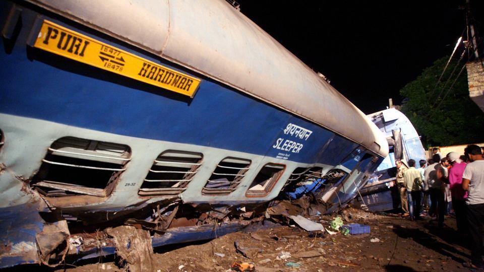 Fourteen coaches of the Puri-Haridwar Utkal Express train derailed in Khatauli near Muzaffarnagar on Saturday evening.