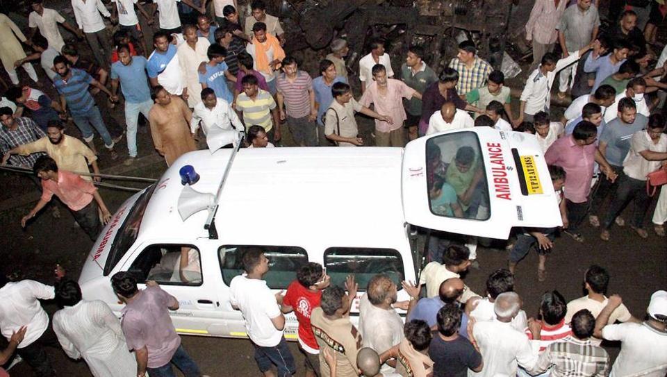 An ambulance at the spot of the derailment of Haridwar-Puri Utkal Express in Khatauli in Muzaffarnagar on Saturday.