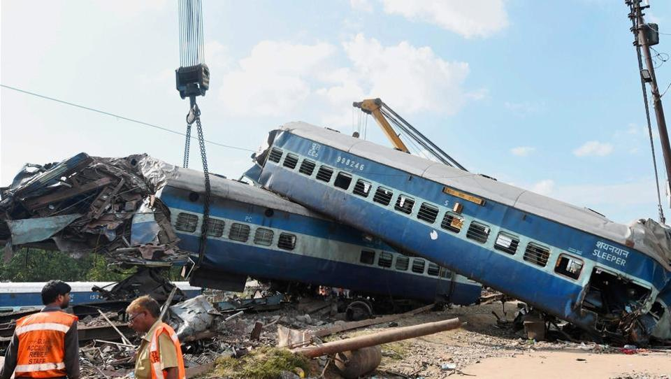Mangled coaches of the Puri-Haridwar Utkal Express being removed from the tracks in Khatauli near Muzaffarnagar on Sunday.