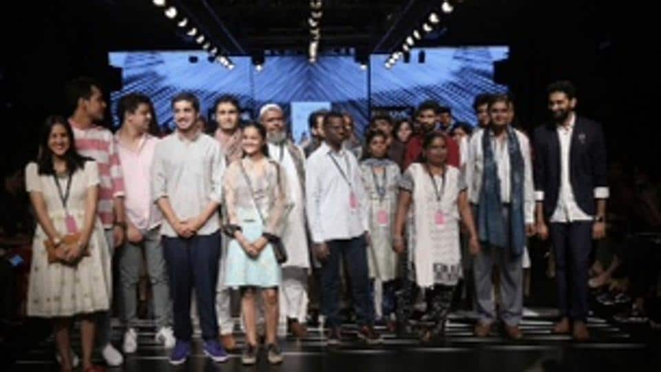 Designers with five crafts groups from Paramparik Karigar at the #CraftisCool show that opened the Sustainable Day at LFW