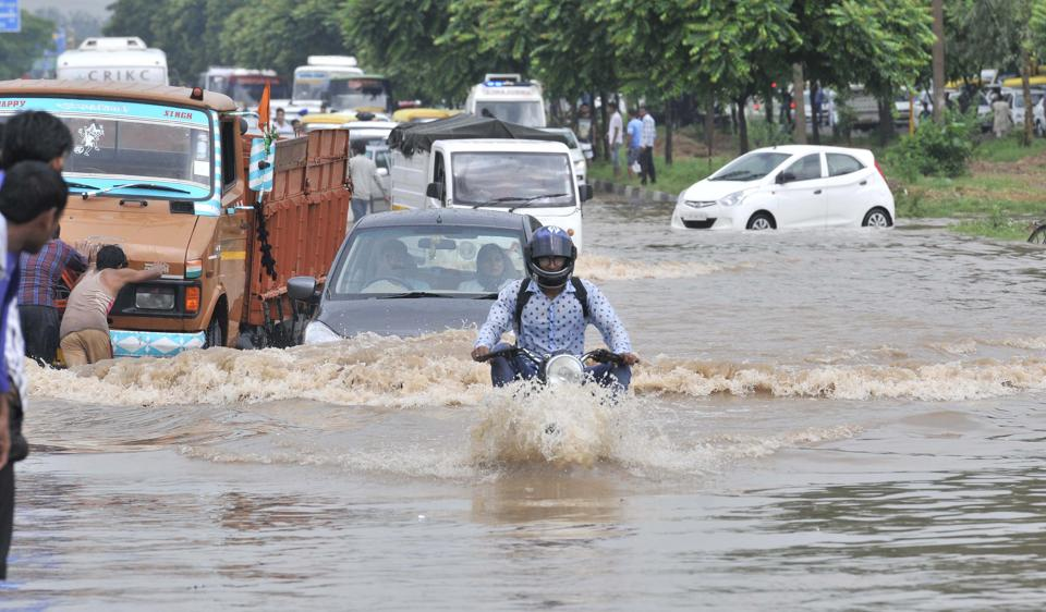 Waterlogged roads in Chandigarh,  August  21.  The city had deficient rainfall till August 21, and then it got 115 mm of rain in just 12 hours. It drowned.