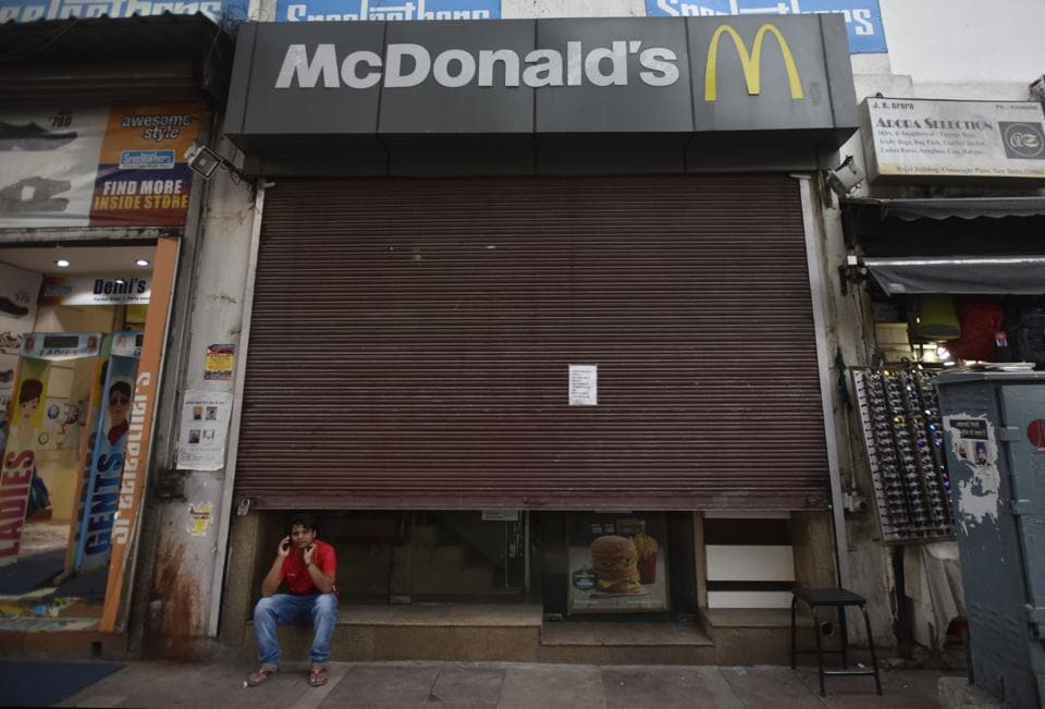 A closed  McDonald's outlet at Connaught Place in New Delhi.