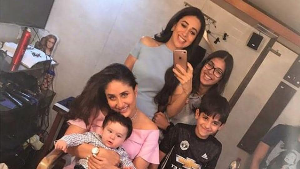 Kareena Kapoor and Karisma Kapoor with their kids.