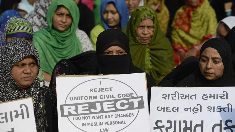 Muslim women at a rally to oppose the Uniform Civil Code (UCC) that would outlaw the practice of triple talaq, in Ahmedabad.