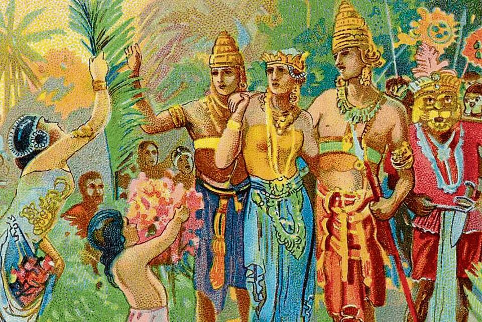 So many Ramayanas: This Liebig collectors' card from 1931, entitled Return of the Victors, features Rama, Lakshman, Sita and Hanuman.
