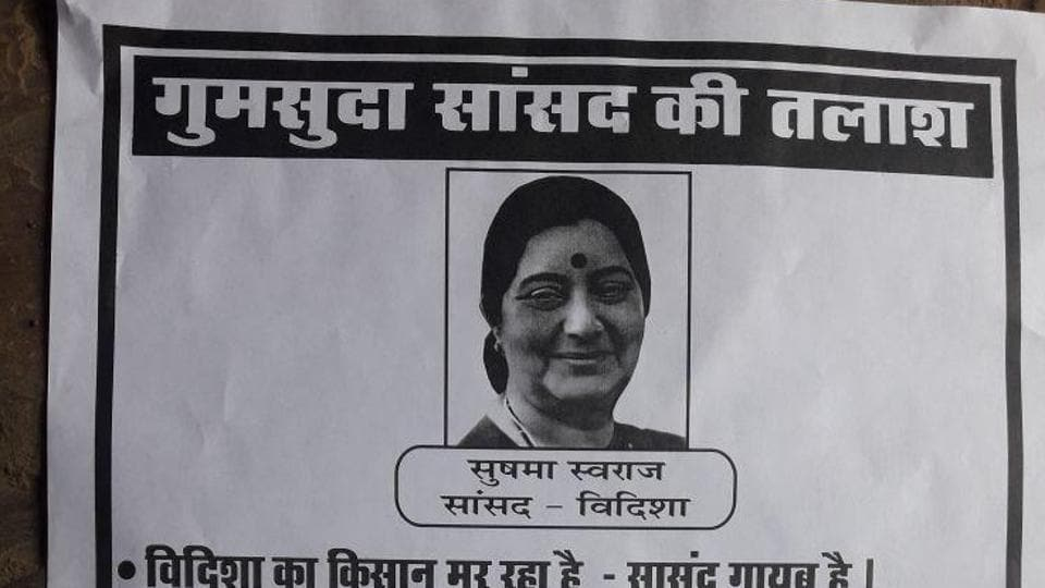 The posters, which also list the problems in Sushma Swaraj's constituency, are going viral on social media sites.