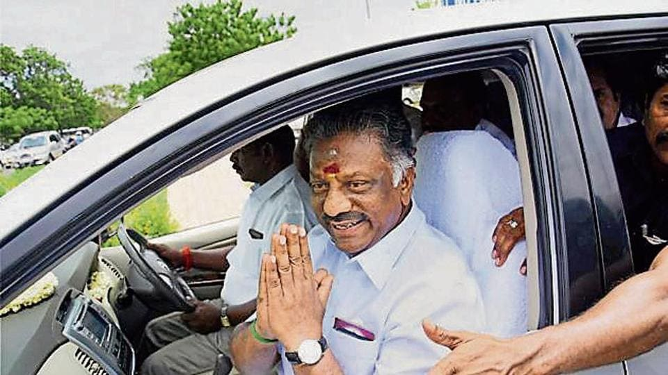 Tamil Nadu deputy chief minister O Panneerselvam leaves the Trichy Airport on Wednesday.