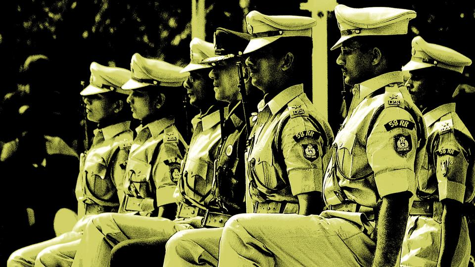 Indian Police Service (IPS) probationers make the ceremonial march at the Sardar Vallabhbhai Patel National Police Academy in Hyderabad in October 2006.