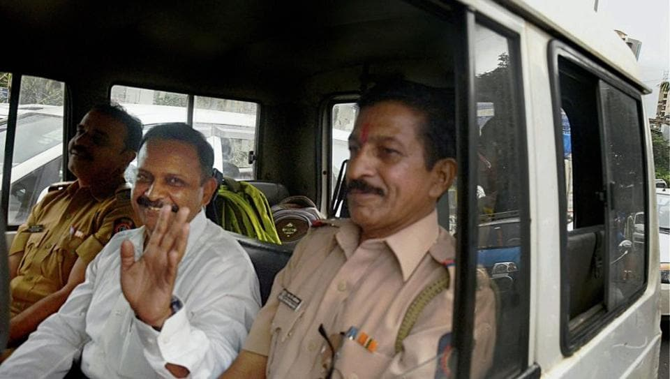 Lt. Col. Shrikant Prasad Purohit, who was granted bail by the Supreme Court yesterday in the 2008 Malegaon blast case, being taken to Session Court from Taloja Jail on Tuesday.