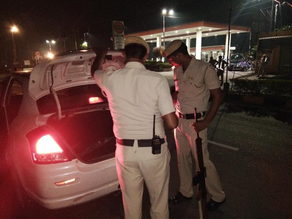A police checkpoint near the Dera Saccha Sauda headquarters on Wednesday late night.