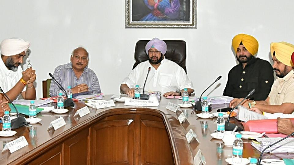 Punjab chief minister Captain Amarinder Singh presiding over cabinet meeting at CMO on Thursday.