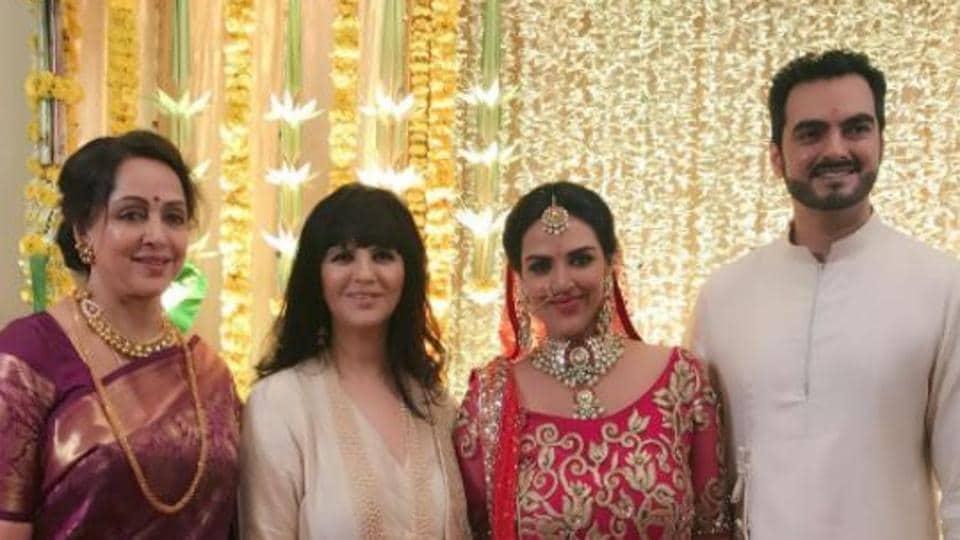 Hema Malini And Designer Neeta Lulla With Esha Deol And Bharat Takhtiani.
