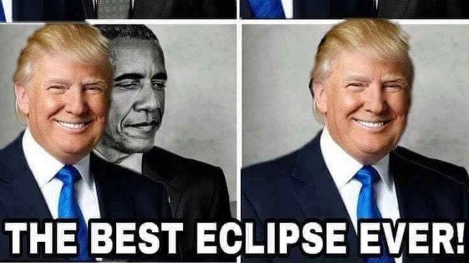 Trump retweets eclipse meme posted by anti-Semitic Twitter user