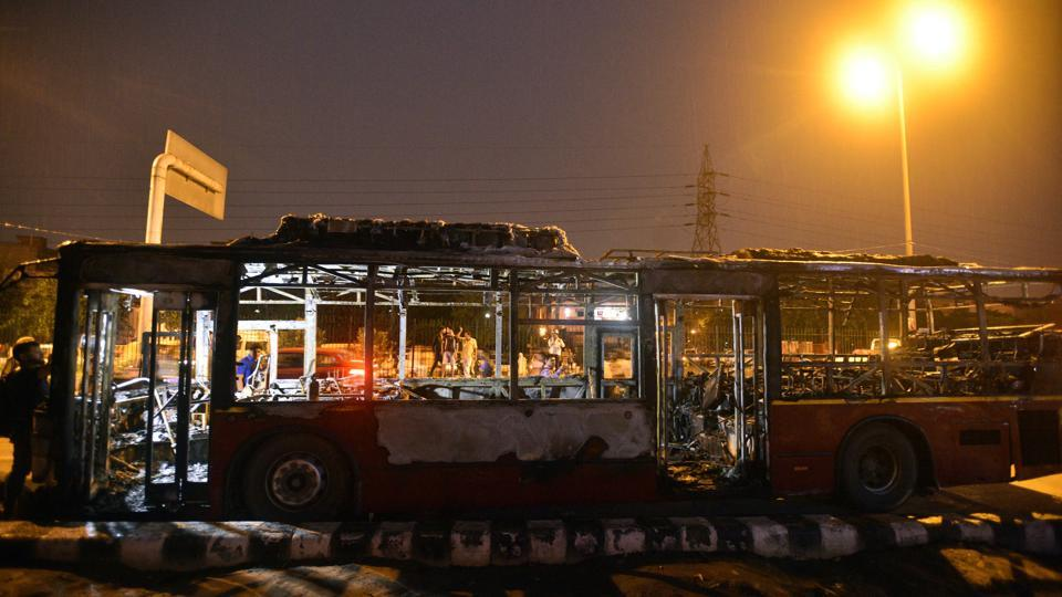 A bus was brunt near Bhajanpura in northeast Delhi. As many as 10 DTC buses were torched in Delhi on Friday after violence erupted in several parts of the capital following the conviction of Dera Sacha Sauda chief Gurmeet Ram Rahim Singh in a rape case.