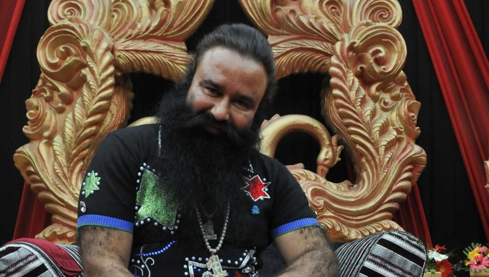 Gurmeet Ram Rahim at a press conference for his movie Messenger of God in Gurgaon in January 2015.