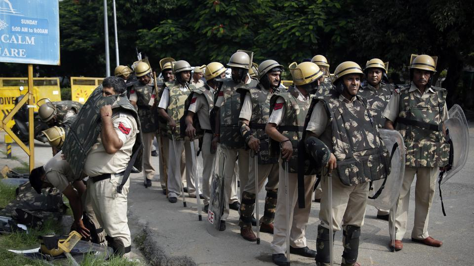 Police personnel in Panchkula on alert ahead of the verdict in the Ram Rahim case.