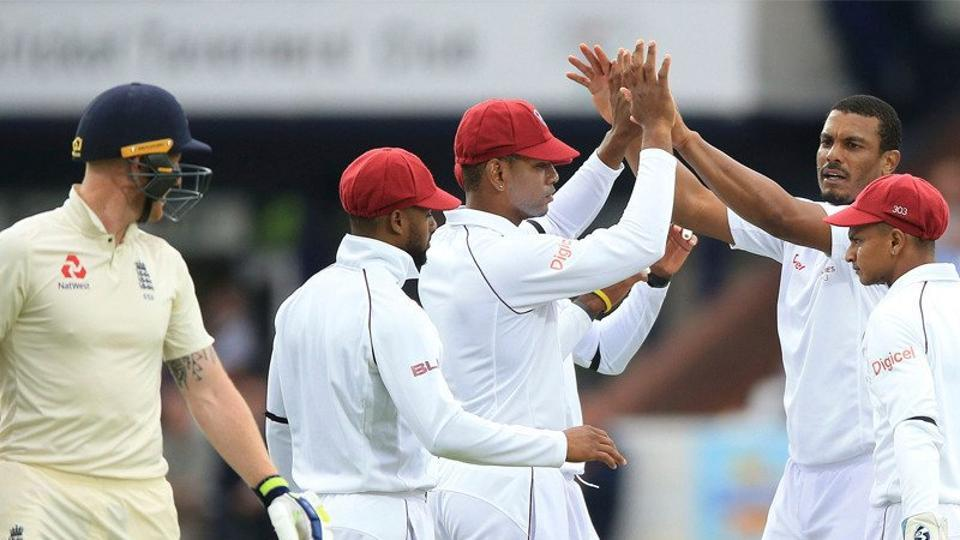 Shannon Gabriel removed Ben Stokes for 100 as England were bundled out for 258 on Day 1 of the second Test against West Indies at Headingley.