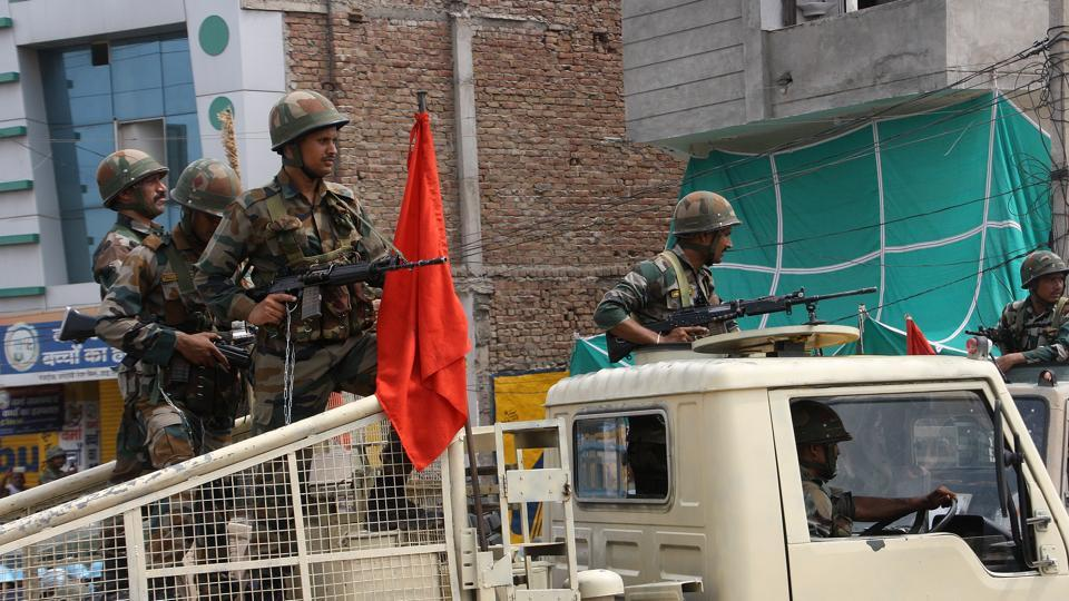 Army during a flag march in Sirsa.