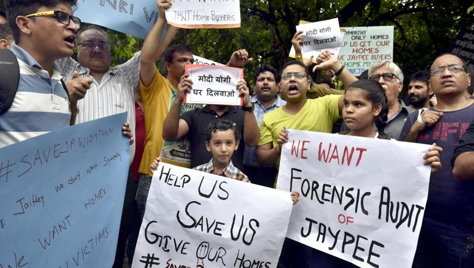 Jaypee group home buyers protest against the owners and the management of company, in New Delhi on August 19, 2017.