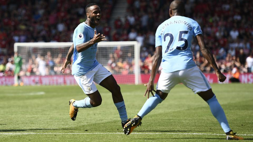 Manchester City's Raheem Sterling celebrates scoring their second goal against Bournemouth.