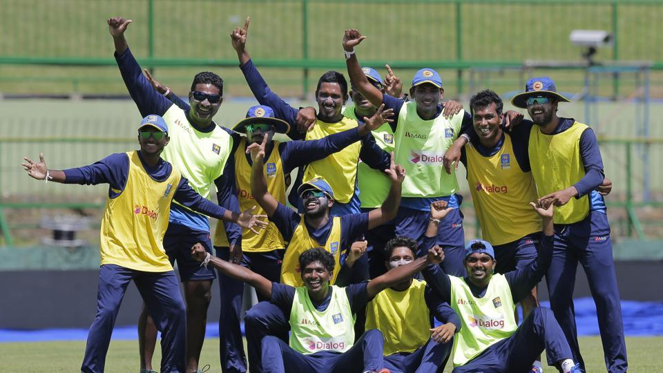 Sri Lankan cricketers looked in good spirits ahead of the practice session for the third ODI against India. (AP)