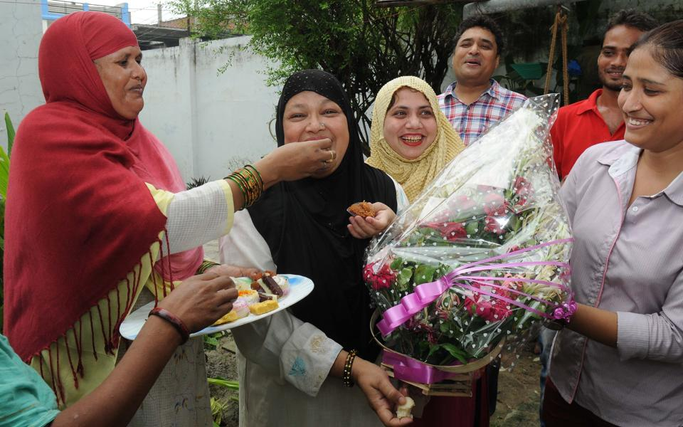 File photo of Shaista Amber, the All India Muslim Women Personal Law Board president, celebrating the Supreme Court verdict on triple talaq at her resident in Lucknow in August.