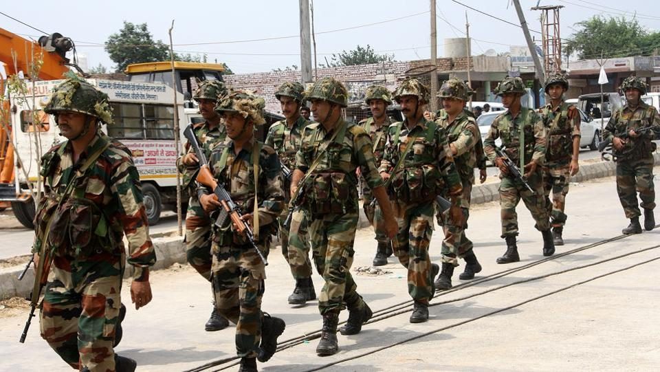 Army conducing flag march in Sirsa on August 26.