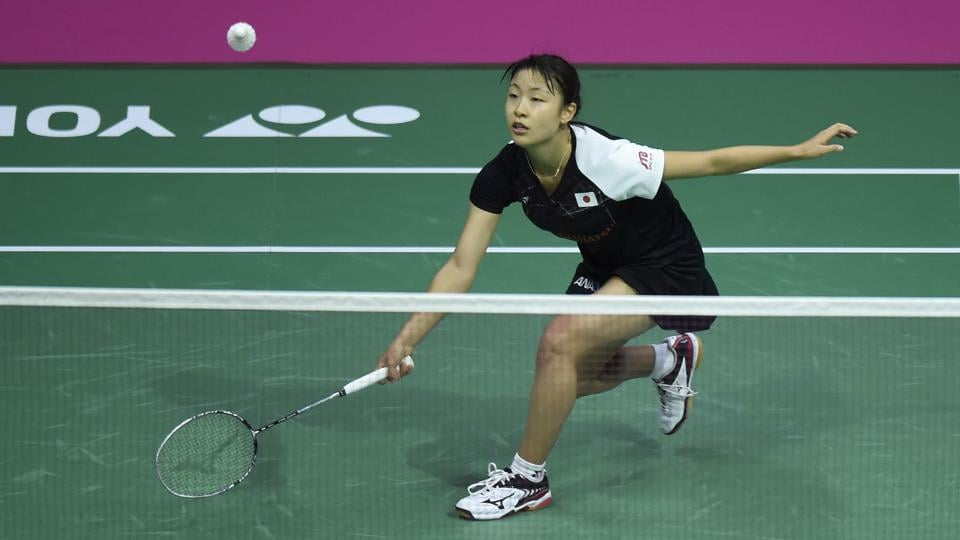 Japan's Nozomi Okuhara returns during the first game against PV Sindhu. (AFP)